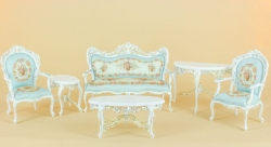 Charlotte 6 piece set in white and blue from Bespaq