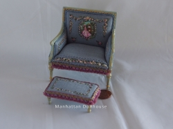 Unique Hand-Painted Miniature Linen Chair and Stool