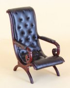 Bespaq Black Leather Chair in Mahogany 8086