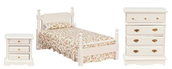 White 3 Piece Dollhouse Bedroom Set-Double