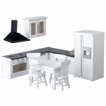 11 Piece White and Black Dollhouse Kitchen Set