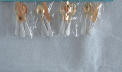 Miniature flatware in Gold and White