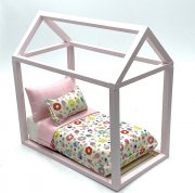 Doll House Miniture Child's /Youth Bed, Light Pink House Frame