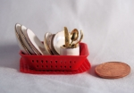 Miniature Dish Rack in Red with Dishes and Flatware