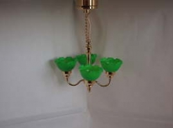 Brass Ceiling Dollhouse Light with Green Shades C1 G