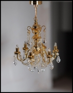 Dollhouse Crystal 6-Arm Chandelier Battery Operated C15