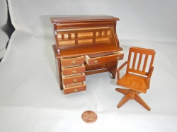 Miniature Desk Set - Roll-top desk with Chair
