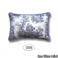 Miniature Toile Blue Pillow