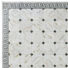 Black Diamond Faux Marble Flooring Sheet with Border