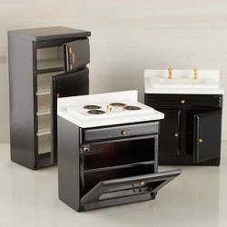 Dollhouse Miniature Kitchen Set Black And White 29 00 Manhattan