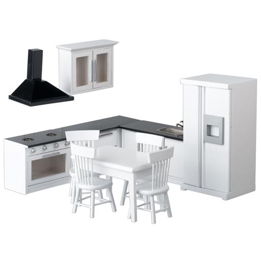 11 Piece White And Black Dollhouse Kitchen Set Dollhouse Miniature