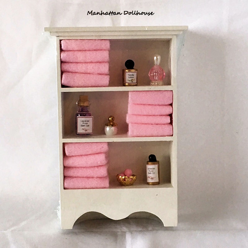 Bathroom cabinet w/towels and accessories-Lavender - Click Image to Close