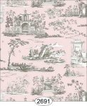 Rose Hill Toile Grey on Pink