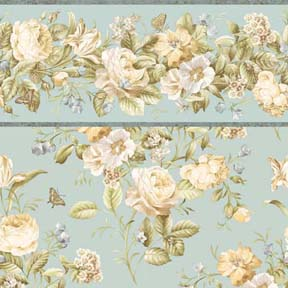 Flowers With Blue Background And Border 568a 4 00 Manhattan
